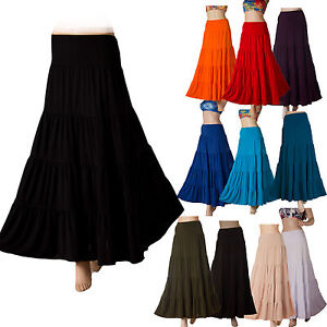 New-Womens-long-Maxi-Skirt-Gypsy-tiered-Boho-Stretch-size-8-10-12-14-16-18-20-22