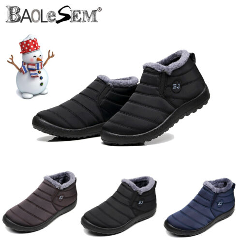Mens Winter Waterproof Snow Boots Fur Lined Slip On Warm Sho