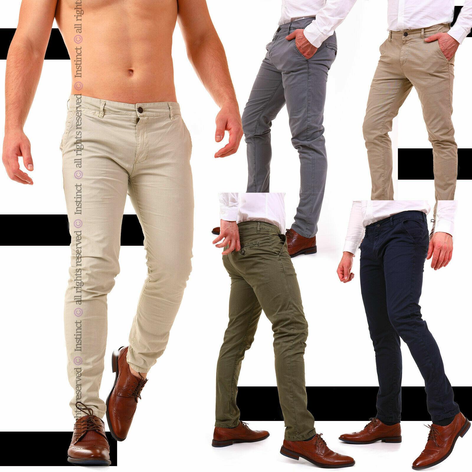 Pantaloni Uomo Slim Fit Chino Eleganti Classico da Ufficio Casual Cotone Estivi
