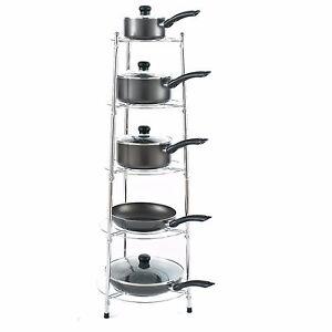 Chrome Five Tier Kitchen Pan Stand Saucepan Pot Rack Storage Stand Holder