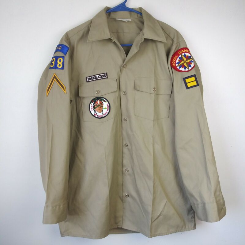 Vtg 1993 Royal Rangers Button Down Uniform Collectible Patches Dickies 15.5 x33