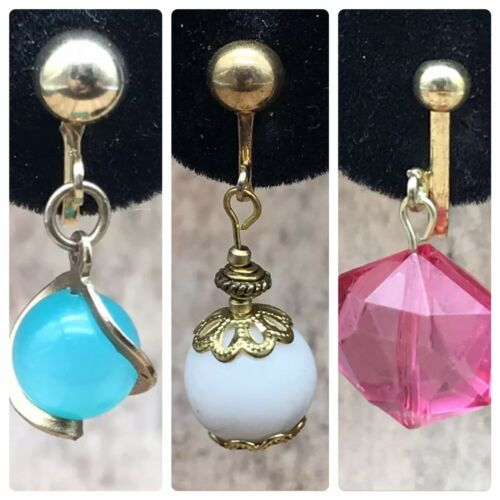 Lot Of 3 Gold Tone Clip On Screw Back Dangle Earrings White Pink Blue  - $9.99