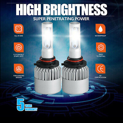 2 Bulbs Cree LED Headlight 9005 HB3 6000K High Beam or Fog DRL Bulbs White 1915W