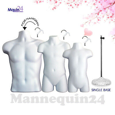 3 White Mannequins Male Child Toddler Torso Dress Body Forms 3 Hangers 1 Stand