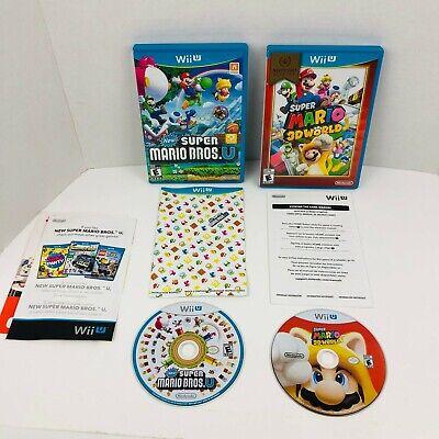 New Super Mario Bros. U & 3D World Nintendo Wii U Video Games Lot Of 2