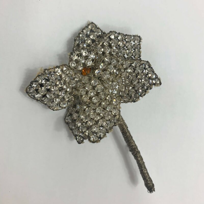 Antique Czechoslovakia Rhinestone Flower Brooch Wire Wrap Floral Art Nouveau