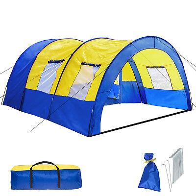 XXL Tenda Campeggio 4 - 6 Persone Posti Tendone Camping Famiglia Blu Giallo