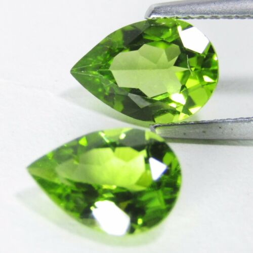 3.83Cts Natural Fandastic Green Peritot 10x7mm Pear Shape Matching Pair VDO