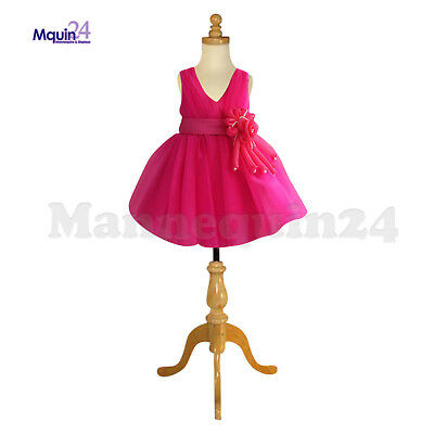 Kids Dress Form Mannequin 3-4 Yrs Wtripod Wooden Base Child Clothing Display