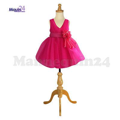 Kids Dress Form Mannequin 3-4 Yrs Wtripod Wooden Base Child Clothing Display