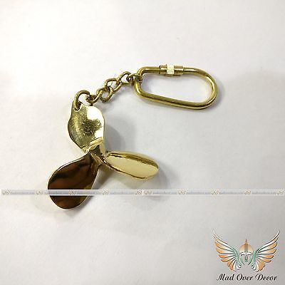 Brass Vintage Nautical Ships Propeller Key Ring Collectible Unique Key Chain