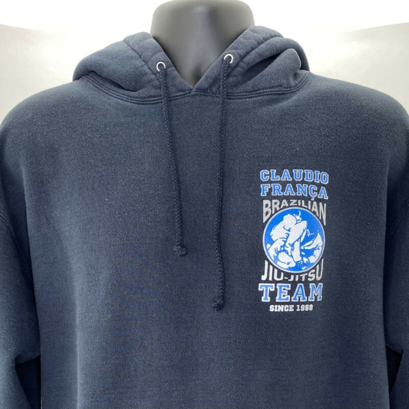 VTG Claudio França Brazilian Jiu-Jitsu Team Blue Pullover Hoodie Size Large EUC