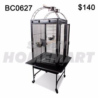 Large Black Arched Roof Pet Bird Parrot Canary Cage Castor Wheels