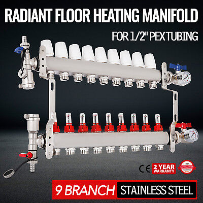 9-branch Pex Radiant Floor Heating Manifold Set - Stainless Steel For 12 Pex
