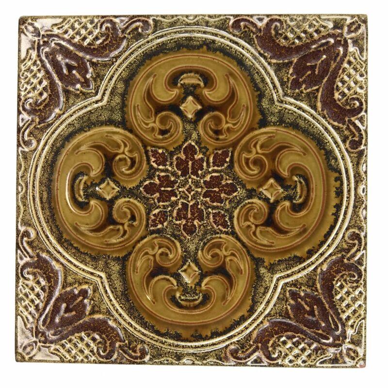 La Campanella Tile Sassuolo Italy Art Nouveau Brown Terracotta Vtg
