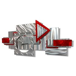 AMAZING! Metal Wall Art Clock - Modern Silver Red Abstract Design  By Jon Allen