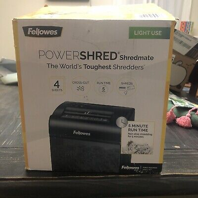Fellowes Powershred Shredmate Cross-cut Paper Shredder 4 Sheets - Black