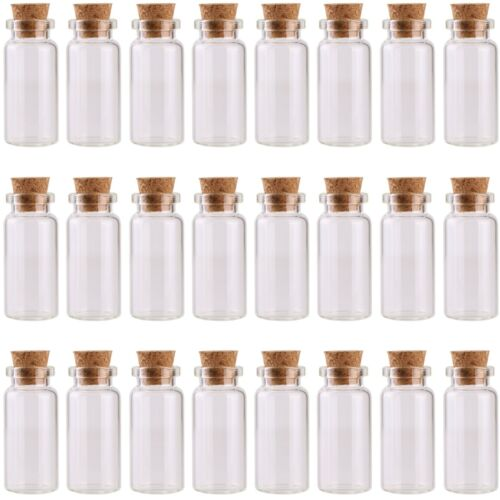 24 10ml Glass Bottles with Cork Stoppers Tiny Vials Small Jars Party Decoration