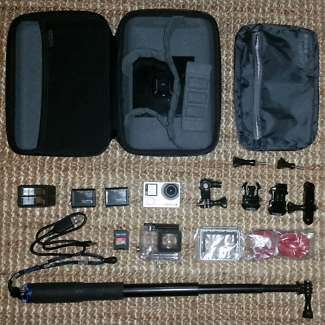 GoPro Hero4 Black. 2x batteries, double charger, hard case, more