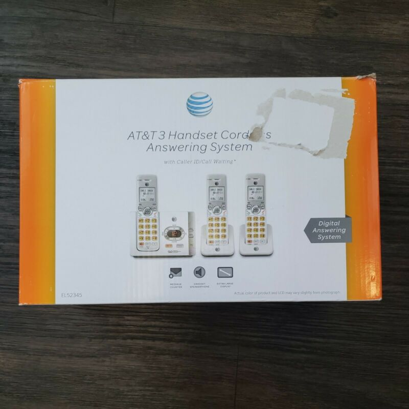 AT&T 3-Handset Cordless White Phone w/ Answering System - Model EL52345,  w/box