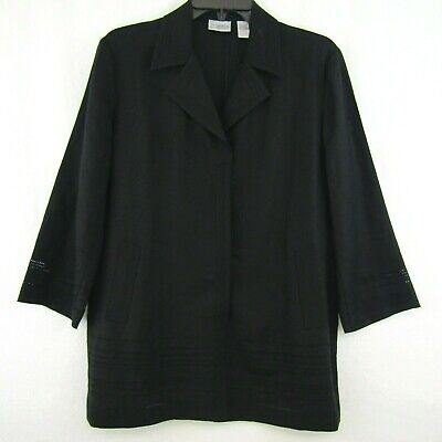 Chicos Black Linen Jacket Open Weave Pattern Blazer Hidden Snap Closure Sz 1 8