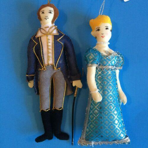 St. Nicolas Colonial Christmas fabric ornaments:  Mr. Knightly & Emma NWT