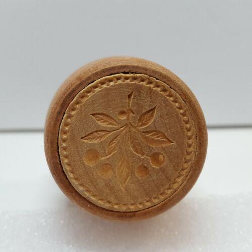 "Vintage WOOD Butter Cookie Stamp CHERRIES Cherry On Vine Approx 1.125"" Diameter"