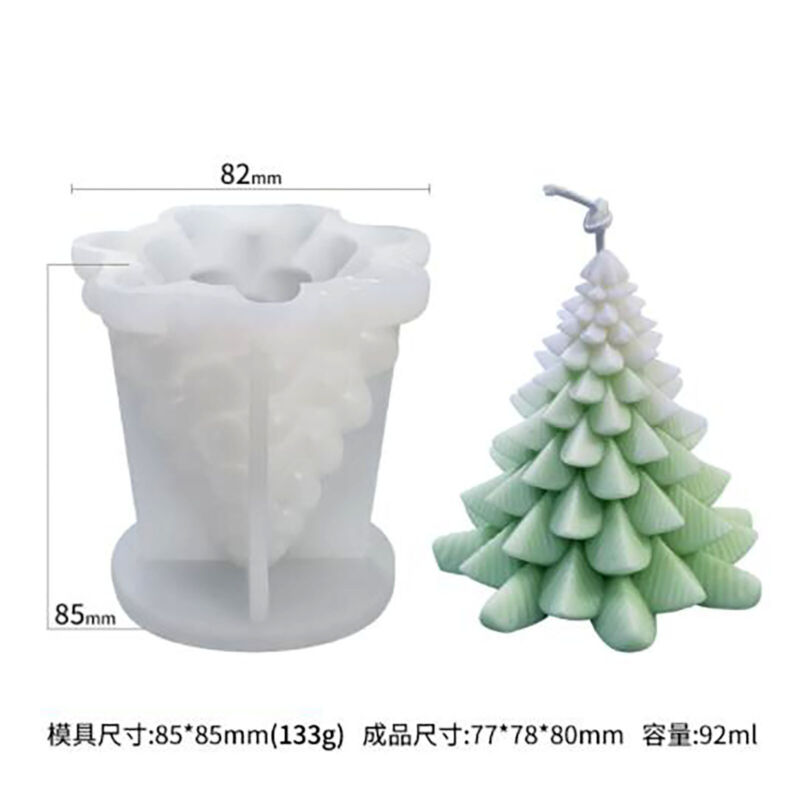 3D Silicone Candle Mold Christmas Tree DIY Silicon Soap Epoxy Mould Size S