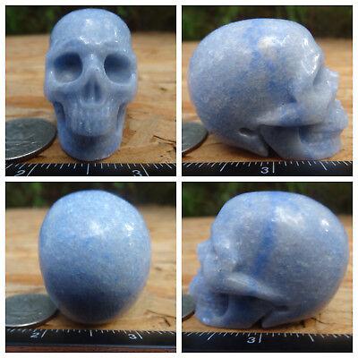 "1.95"" Blue Quartz Skull Carved 3.2oz 91.4g Crystal Healing Realistic Aventurine"