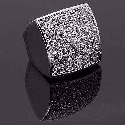 Huge 24MM Square Ring Silver Plated Micro Pave CZ Hip Hop Men Sz 7-12 Cz Square Pave Ring