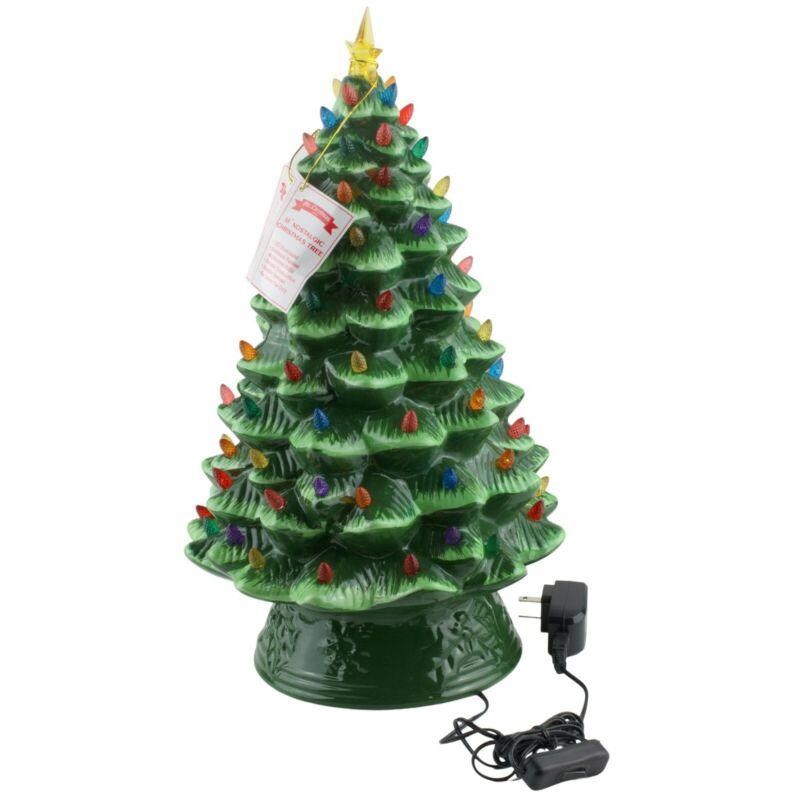 "Mr Christmas 18"" Ceramic Nostalgic Christmas Tree LED Multicolor Bulbs"