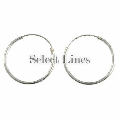 Sterling Silver 1.2mm x 20mm Endless Hoop Earrings Round .925 Jewelry