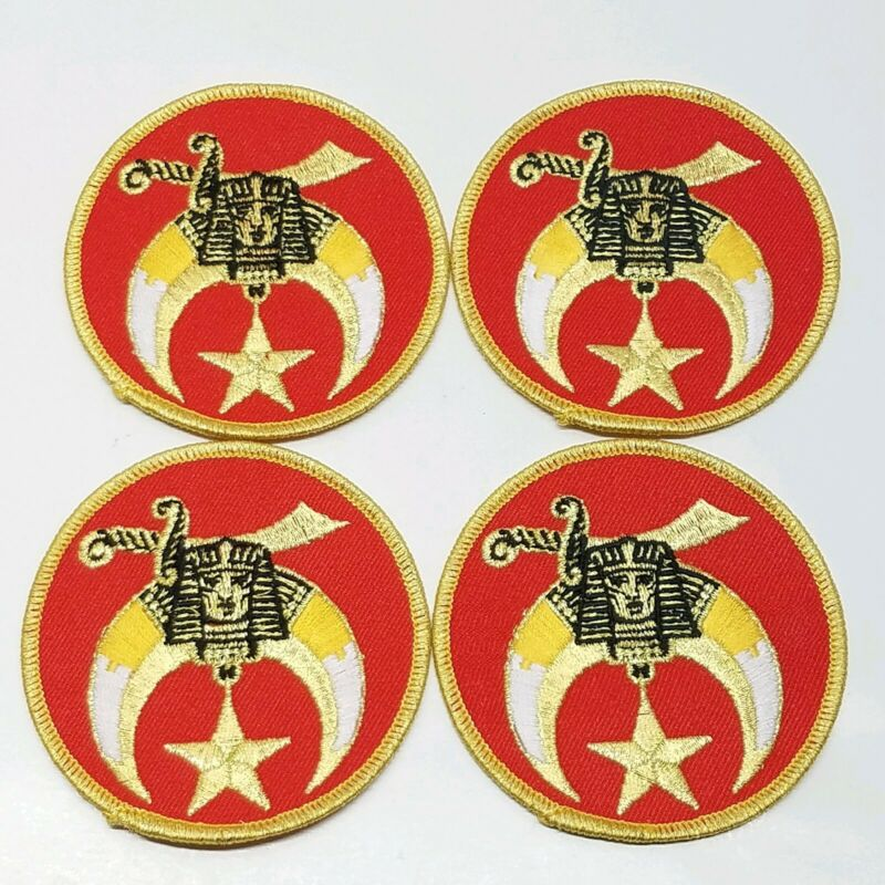 4 Vintage Red Round Shriners Patches Lot Sphinx Scimitar Crescent Moon Star