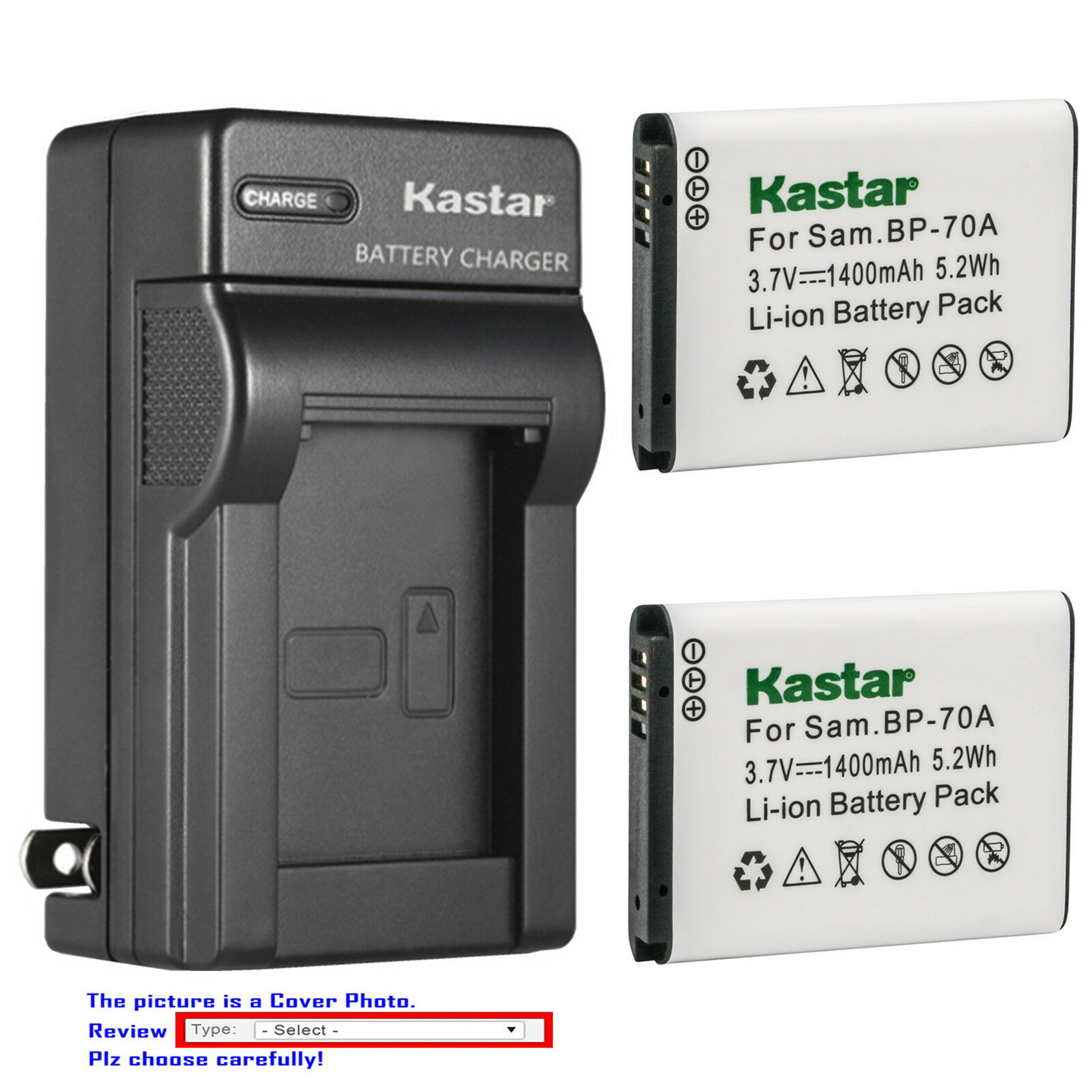 Kastar Battery AC Wall Charger for Samsung BP-70A & Samsung
