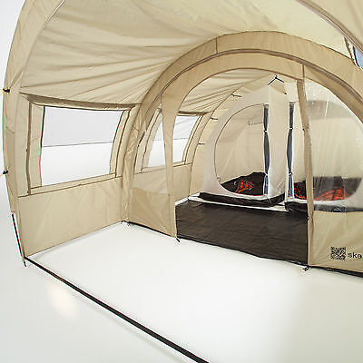skandika Kemi 4 Person/Man Family Tunnel Tent Camp 3000mm Water Column Khaki New