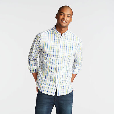 Nautica Mens Classic Fit Poplin Shirt In Bright Open Plaid