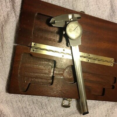 6 Brown Sharpe No.599-579-3 Dial Micrometer Caliper With Wooden Box.