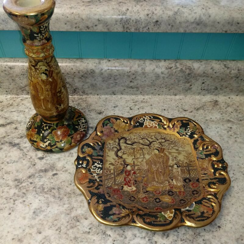 Pair Japanese Royal Satsuma Hand painted Porcelain Moriage Gold Gilt Geisha pcs