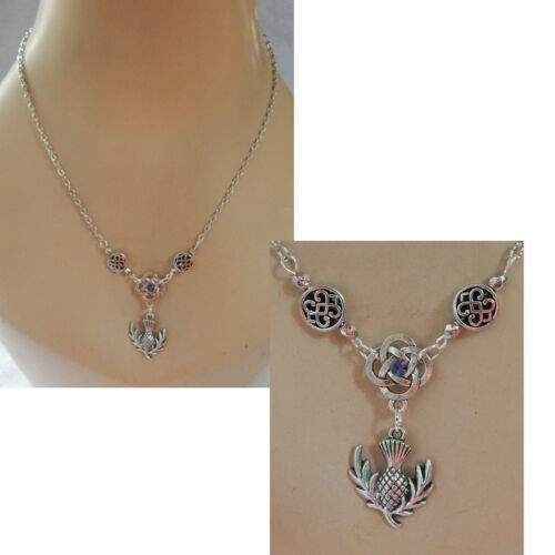 Thistle Necklace Celtic Scottish Pendant Silver Chain New Jewelry Handmade Scots
