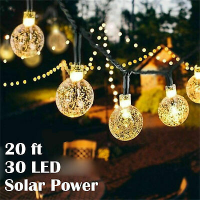 20ft White 30 LED Solar String Ball Lights Outdoor Waterproof Garden Decor Xmas ()