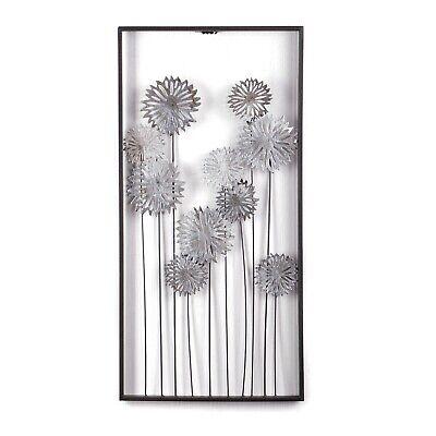 "WAND DEKORATION ""PURE FLOWERS"" | 62cm, silber, Metall | Wandbild, Kunstobjekt"