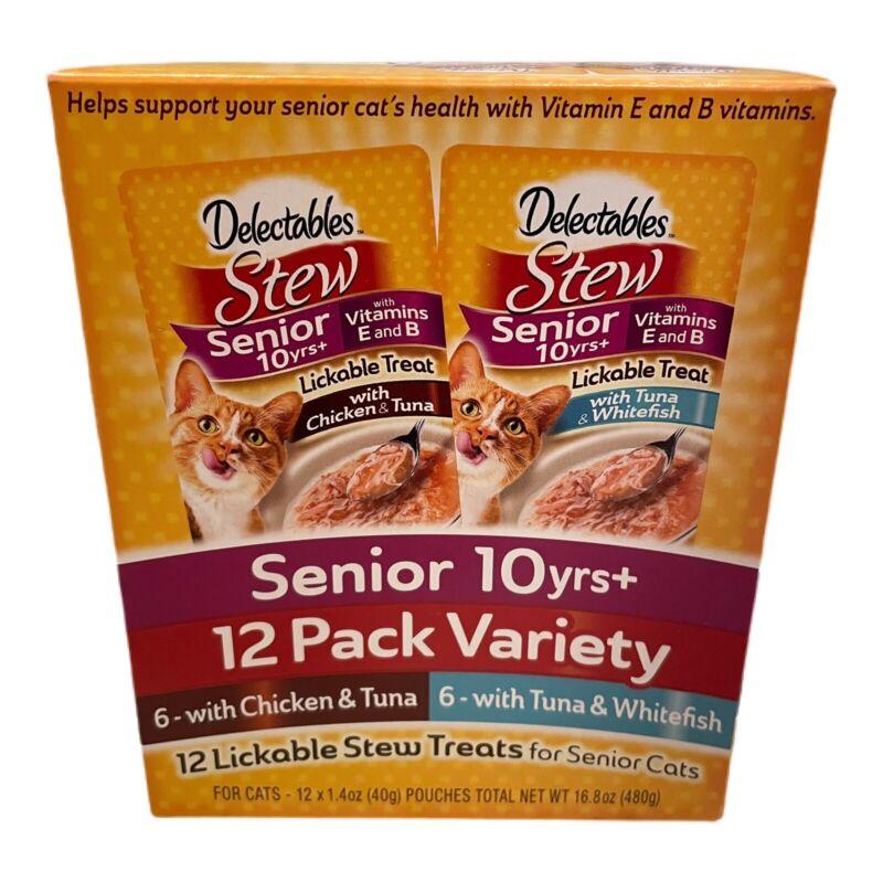 Hartz Delectables Stew 12 Pack Variety Treats Senior 10 Years+ Chicken Tuna