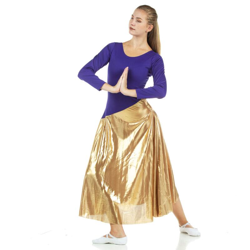 Danzcue Womens Bi Color Long Sleeve Worship Dance Dress