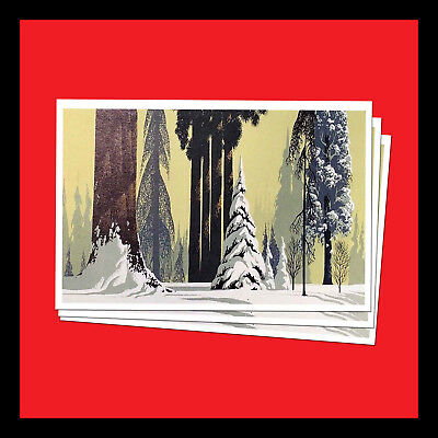 Christmas Card Postcards (3 NEW CHRISTMAS POSTCARDS CARD of VINTAGE EYVIND EARLE WINTER IMAGE)