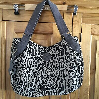 Kipling Leopard Animal Grey Handbag Shoulder Bag Monkey