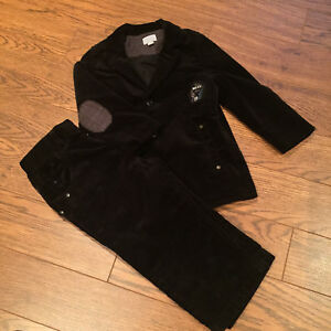Velvet texture long coat and pants set for baby 9-12M