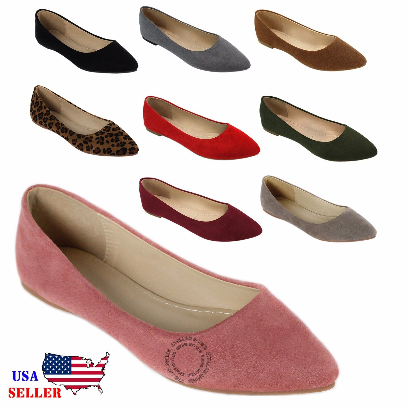 NEW Women's Classic Suede Pointy Toe Ballet Flat Shoes