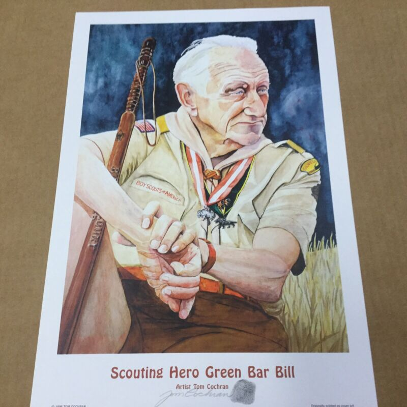 """Boy Scout Poster Scouting Hero Green Bar Bill Signed By Tom Cochran 18"""" x 12"""""""