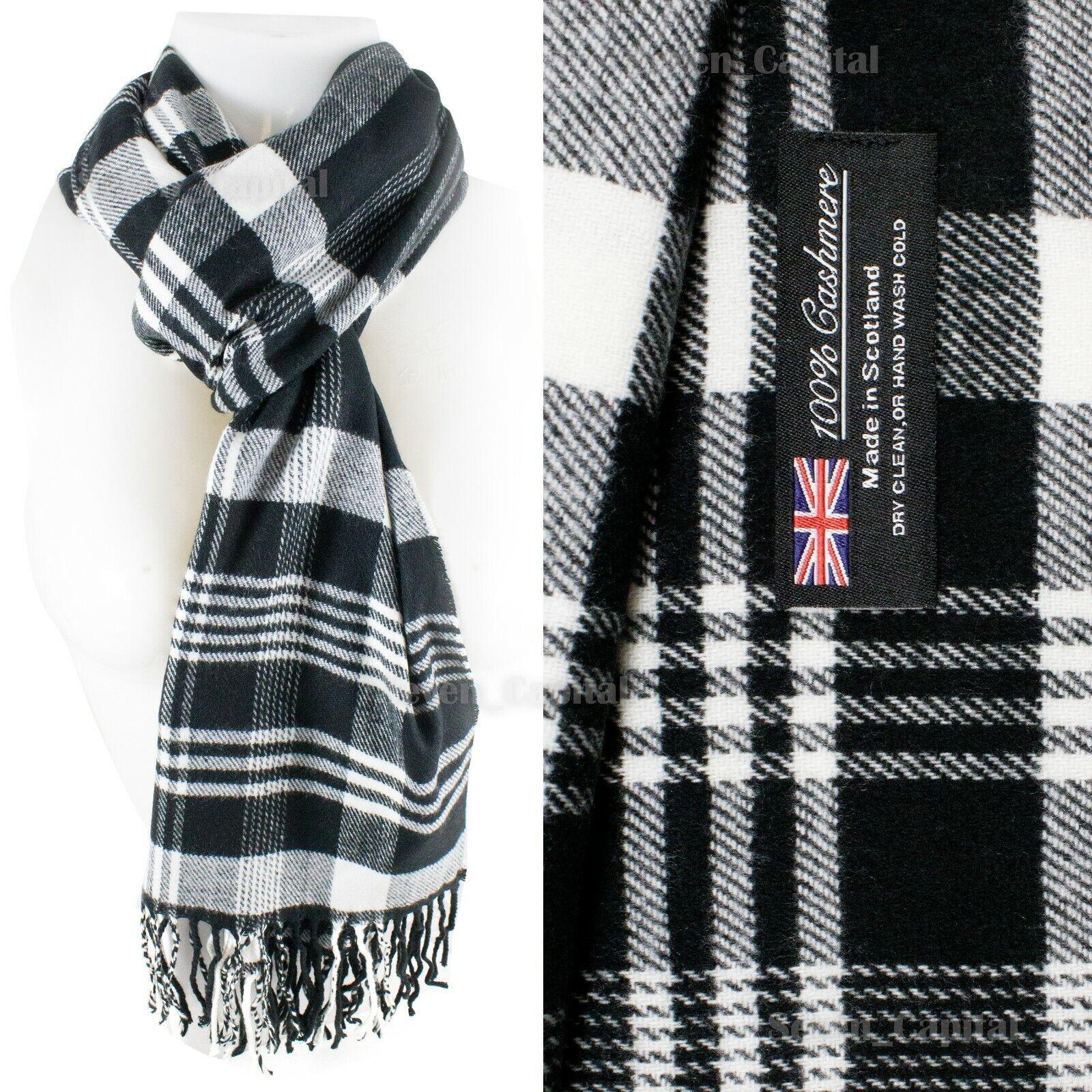 Mens Womens Winter Warm SCOTLAND Made 100% CASHMERE Scarf Scarves Plaid Wool 29. Plaid: Black/white