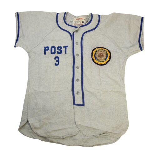 Vintage Wilson American Legion Mens Medium Baseball Jersey Wool Grey